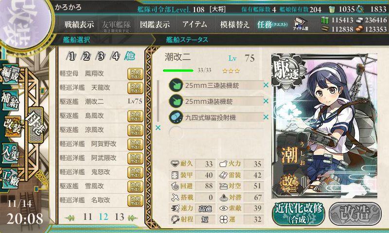 潮改二初期ステータス(Lv75)