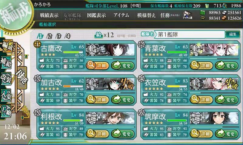「第六戦隊」南西海域へ出撃せよ!:編成